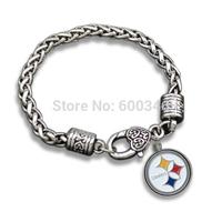 Antique Silver Plated Fashion Enamel Pittsburgh Steelers Sport Pendant Men Bracelet