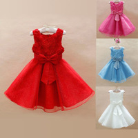 2014 Summer Childs Girls Bridesmaid Rose Foral Ball Gown Party Tutu Dress For 2-7Y
