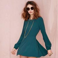 2014 Women Lantern Sleeve A-Line Dress Fashion Solid Back Hollow Slim O-Neck Dresses DR1048