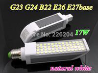 Ultra brightness LED PL down light G23 G24 B22 E26 E27 led bulb 17W smd 5050 52leds natural white 85-265V indoor lamp RoHS CE