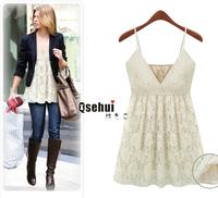 2014 spring &summer new large size women lace Spaghetti Strap dress Korean version woman tank dress print lace clothes