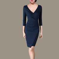 Women celebrity fashion brief vintage V-neck bodycon pencil dresses ,formal business party dress Y30