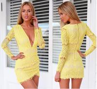 Drop shipping 2014 Hot selling Women dress fashion sexy V neck Lace dress long sleeve summer dress