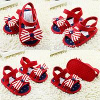 NewBaby Girl Cotton Bow Sandal Shoes Toddler Soft Bottom AntiSlip PrewalkerFree&Drop Shipping
