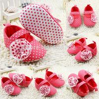 NewToddler Baby Girl Flower Polka Dot Mary Jane Soft Sole Anti-Slip Shoes 0-18MFree&Drop Shipping