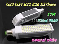 New model LED PL bulb G24 G23 E26 E27 B22 base LED 17W 5050chip 52pcs indoor lamp AC85-265V natural white