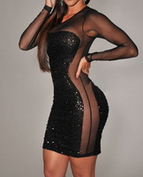 New 2014 Sexy Club Wear Bandage Dress Women See-Through Voile Mesh Patchwork Sequin Black Bodycon Party Dress Free Shipping