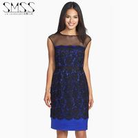 SMSS sexy gauze sleeveless one-piece dress lace patchwork high quality elegant dress