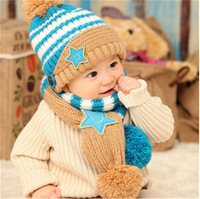 1Set Toddler Kids Boy Girl Lovely Stars Striped Hat+ Scarf Set Winter Baby Hats Christmas Beanie Cap Gifts Fit 1-4Years 871509