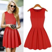 2014 Casual Desigual Women Sleeveless Ball Gown Red Maxi Dress Vestidos Casual Free Shipping 2014 XZX19094