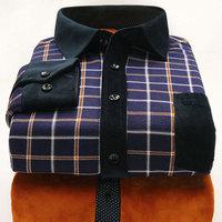 2014 Men Winter Warm Shirts Velvet Thick Plaid Shirt Full Length Cotton Casual Shirts