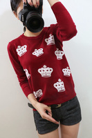 2014 rhinestone o-neck sweater pullover sweater basic shirt top female