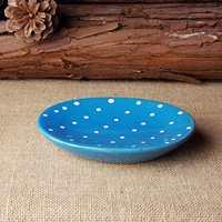 Bathroom supplies fashion dot ceramic soap dish Ceramic material Blue soap dish