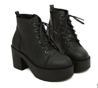 Free shipping 2014 Hot  Cool Shoe Gothic Lace Up Chunky Heels High Platform Ankle Boots shoes Motorcycle Boot Eur 35-39