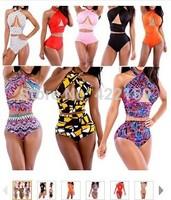 Popular Hot!New 40Colors Brand Sexy Bandage Swimwear Bikini Sets Print Designer Bandage High Waist Swimming Suits Free Shipping