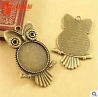 A3566  20pcs/lot size fittings 25mm silver bronze owl Antique diy pendant Jewelry findings  nickel free zakka