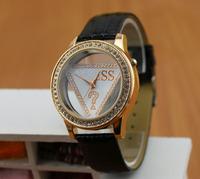 11.11 Clocl 2014 Free shipping Silver Crystal Rhinestone Leather Ladies Quartz Diamonds Luxury Watches Dress watches