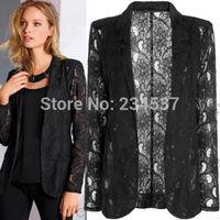 Fashion Ladies Womens Lace One Button Slim Suit Blazer Coat Jacket Size 8-18