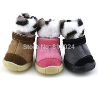 FashionSmall Pet Dog Puppy Anti-slip Cotton Snow Boots Cashmere Furry Dog Cat Shoes