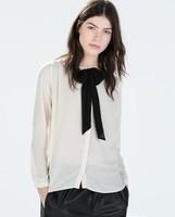2014 New arrival Ladies' Elegant sweet bow blouses vintage o-neck long sleeve OL shirts casual slim brand tops