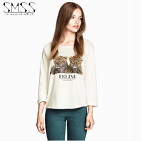 SMSS fashion preppy style long-sleeve t-shirt print female o-neck loose basic shirt