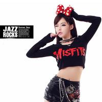rock ultrashort elastic self-cultivation blouses T-shirt hip-hop singer DS evening performance clothing