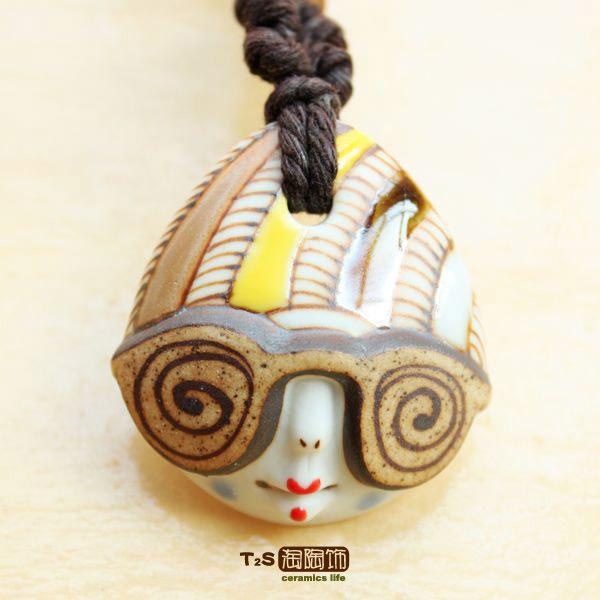 amoy cerâmica decorados com original| boneca bonito designer-chefe copos de vidro long camisola jóia colar de corrente, jóias de cerâmica(China (Mainland))