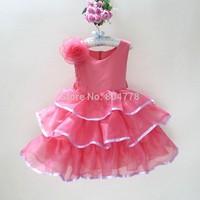 2015 New Baby Party Dress Exquisite Flower Girl's Princess Dress Graceful Children Celebrity Tutu Drss Kid's Christmas Wear 3-8Y
