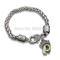 Antiqeu Silver Plated Single Side Washington Redskins Charm Vintage Bracelets