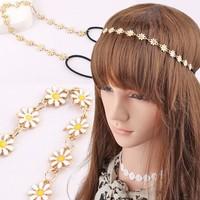 NEW Wholesale and Retail fashion daisy flower matal pedant hair chain elastic hairband headband hair accessories