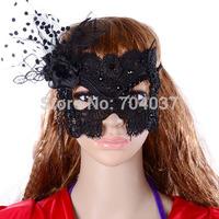 (30 pcs/lot) Festive & Party Supplies 2014 new arrival Hot sale Handmade Half-face Black Lace with Flowers Elegant Masque Masks