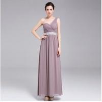 Free shipping 2014 new summer Chiffon sleeveless shoulder long banquet ball gowns
