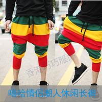 JAZZ dance costume Hip Hop Pants color mosaic cross-pants female Haren thin sports pants