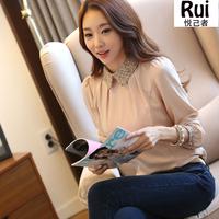 2014 new fashion Korean lady long sleeve lace chiffon shirt size s-2xl peter pan collar lantern sleeve women blouse
