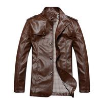 Autumn fashion new men's soild leather PU leather motorcycle jacket mens casual Jacket Men coat M-2XL