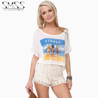 SMSS fashion summer all-match o-neck loose casual beautiful woman the letter print short-sleeve t-shirt