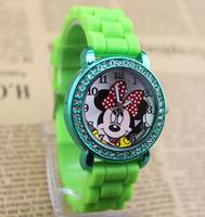 2014 clock fashion minnie girls Ladies women crystal Watch kids children cartoon Rhinestone silicone sport watches Free shipping