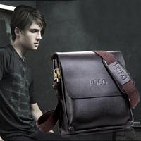 Men's Vertical Shoulder Bags Leather Handbag Briefcase Detachable Strap