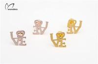 Wholesale 2014 Fashion animal Jewelry 18k Gold cute naughty Monkey Stud Earrings Free Shipping
