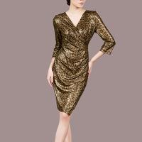 women V-neck sexy lepoard fashion vintage bodycon dresses ,celebrity stretch party dress A188