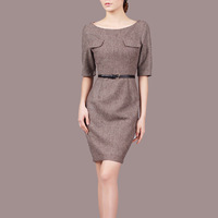 new fashion autumn plus size women half sleeve wool designer slim dresses gray and coffee color C77