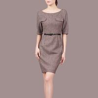 new fashion autumn plus size women half sleeve wool designer slim dresses gray and coffee color C77