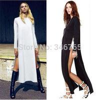 2014 New Brand Women Sexy Casual Side High Slits Tee Long Top Maxi Dress T-shirt Tops