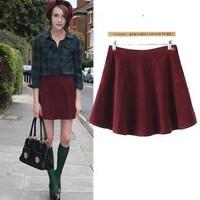 2014 New arrival Ladies' Elegant pleated corduroy mini skirts vintage stylish office-lady zipper Skirts casual slim brand skirts