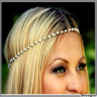 2014 Fashion Gold Pearl beads Headband Hair Accessories Bohemia women Forehead chains Hair jewelry