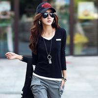 Korean Women Tops Autumn Sport Style Slim Waist Casual Cotton T-shirt Long Sleeve Elegant V-neck Bottoming Tees Plus Size 1269
