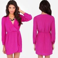 SZ8233 New 2014 Autumn Long Sleeve Crossed V-neck Chiffon Casual Dress Women Vestidos