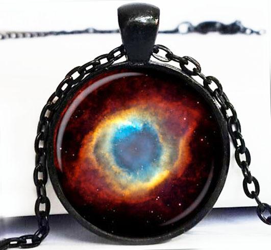 (BUY 3 GET 1 FREE )1PC Free Shipping NEBULA Pendant Necklace Galaxy Art. Picture.Turquoise White Silver Jewelry Handmade Jewelry(China (Mainland))