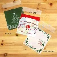 10*10 cm Christmas tree Santa Claus flower bag cake biscuit cookie pastry bakery candy packaging ziplock bag baking package bag