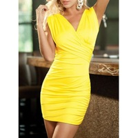 2014 New Fashion Women Sexy Alluring V-Neck Sleeveless Bodycon Bandage Dress Yellow Mini Party Club Wear Dresses Free Shipping